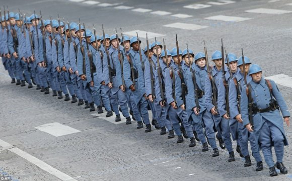 French soldiers marched