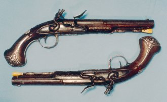 A pair of pistols owned by the Marquis de Lafayette, who served with the American Continental Army from 1777 to 1781, is on exhibit in the Yorktown Victory Center's Converging on Yorktown Gallery. Courtesy of Mr. and Mrs. Leslie O. Lynch, Jr.