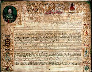 Image shows an official copy of the 1707 Treaty of Union.