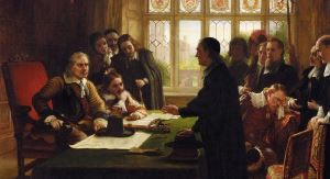 Image shows Charles West Cope's painting of 'Oliver Cromwell and His Secretary John Milton, Receiving a Deputation Seeking Aid for the Swiss Protestants.'