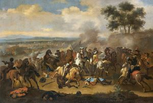 Image shows Jan van Huchtenburg's painting of the Battle of the Boyne.
