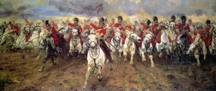 Image shows the painting 'Scotland Forever!' by Lady Butler, which depicts the start of the cavalry charge of the Royal Scots Greys at the Battle of Waterloo.
