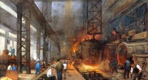 Image shows the painting 'The casting of iron in blocks' by Herman Heyenbrock.