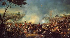 Image shows William Sadler II's painting of the Battle of Waterloo.