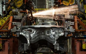 Our industrial revolution: Robots welding part of a Chrysler SUV together at the Jefferson North Assembly Plant in Detroit, Michigan