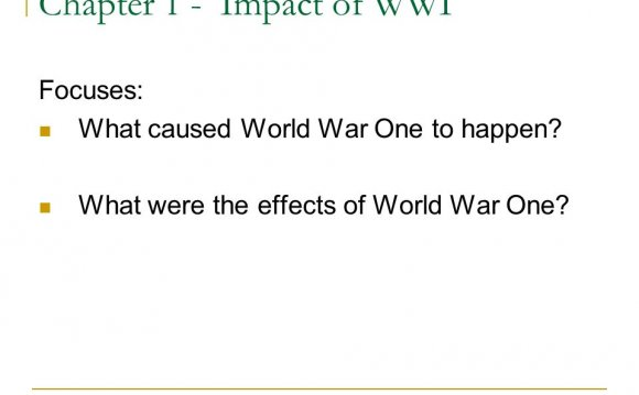 What caused World War One?