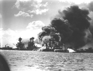 The USS Arizona after the attack.