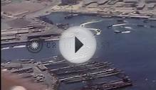 Aerial view of the naval base, harbor installations and