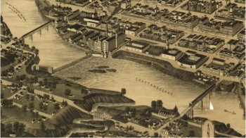 Vintage map of Columbus and targeted bridges